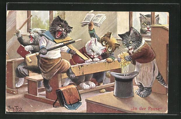 Künstler-AK Arthur Thiele: In der Pause, Katzenschule