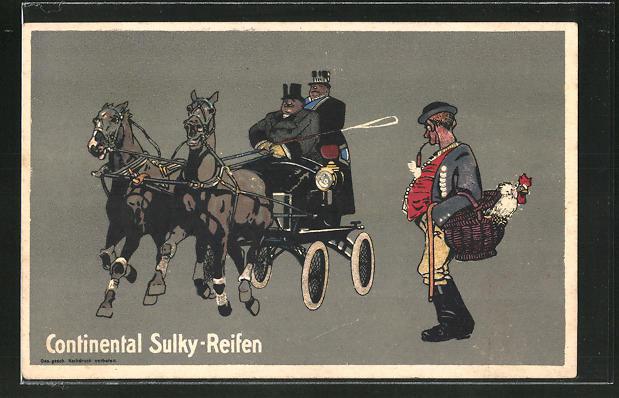 AK Reklame für Continental Sulky-Reifen, Männer in einer Pferdekutsche, Mann mit Huhn