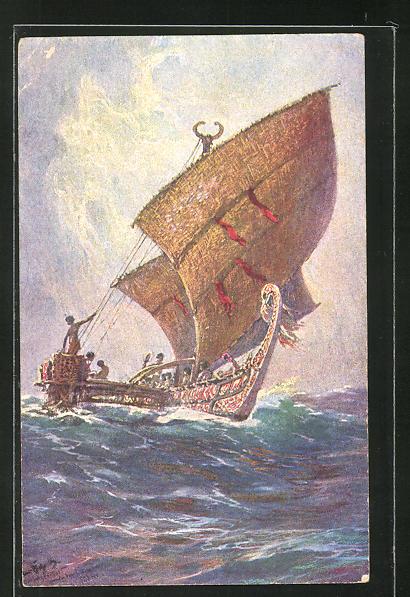 Künstler-AK Hans Bohrdt: Südsee, Das letzte Boot von der Insel Ugomes