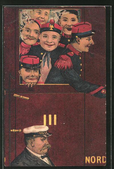 AK französische Soldaten fahren im Zug in den Krieg