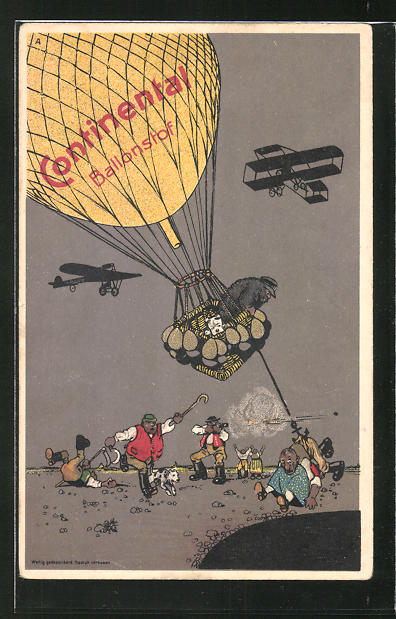 AK Reklame für Continental Ballonstoff, Ballon und Flugzeuge im Flug