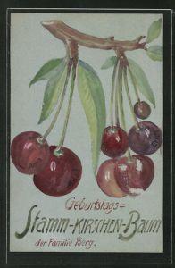 Künstler-AK Handgemalt: Stamm-Kirchen-Baum der Familie Berg