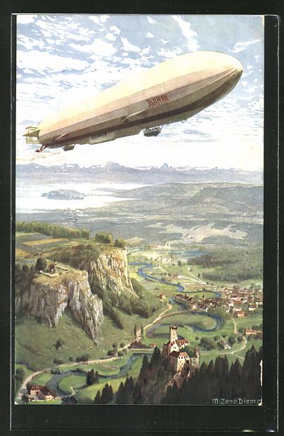 Künstler-AK Zeno Diemer: Zeppelin über der Erde
