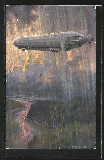 Künstler-AK Zeno Diemer: Zeppelin im Gewittersturm