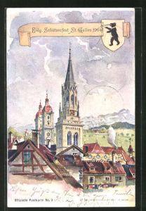 AK Sankt Gallen, Eidg. Schützenfest 1904, Ortspartie mit Kirche, Wappen