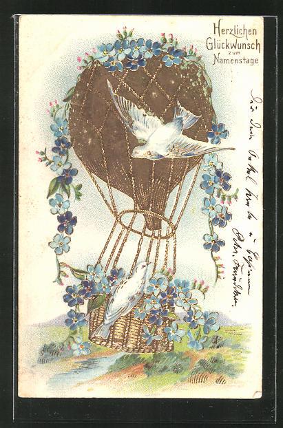 Lithographie Tauben umschwirren einen blumengeschmückten Ballon,