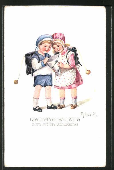 Künstler-AK Elly Frank: Junge und Mädchen blicken in die Schultüte,