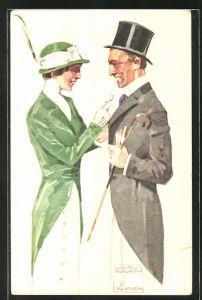 Künstler-AK Ludwig Hohlwein: Dame im grünen Kostüm übergibt dem Herrn eine kleine Blume, Ganzsache