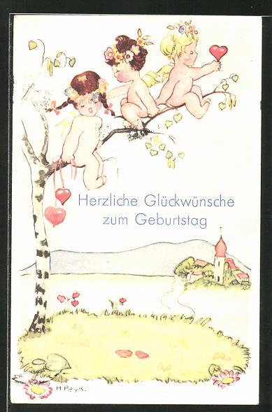 Künstler-AK Hilla Peyk: Engel mit Blumenkränzen im Haar sitzen auf einem Ast,