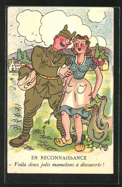 AK Französischer Soldat greift einer Frau an den Busen