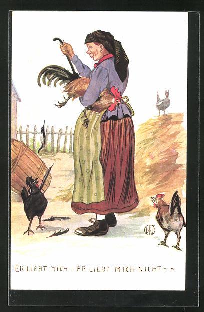 AK Bäuerin rupft einem Hahn die Federn aus, Scherz