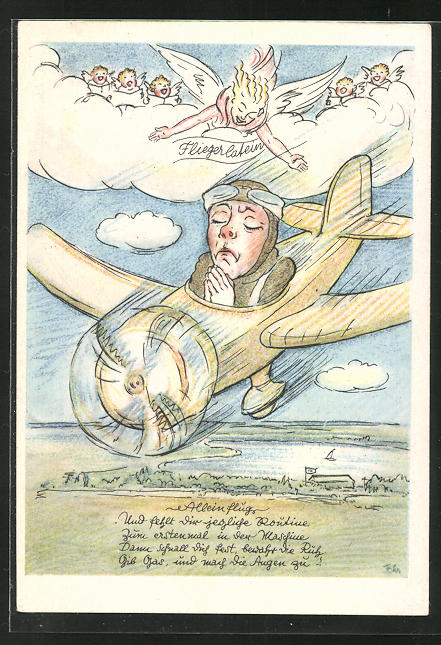 AK Pilot im Flugzeug betet beim Sturzflug,