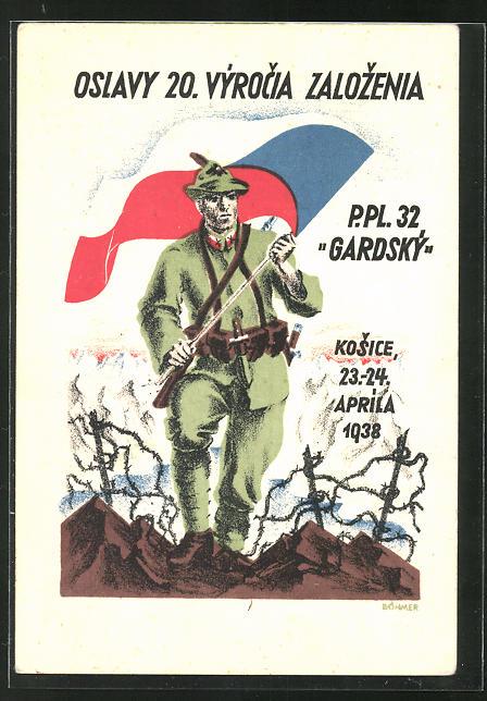 AK tschechischer Soldat mit Gewehr und Fahne