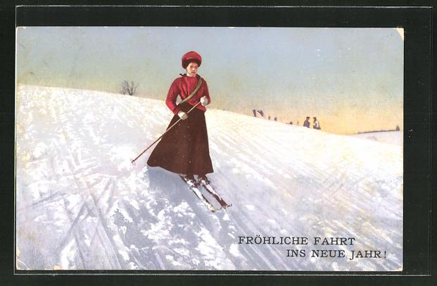 AK Frau fährt auf Skiern den Berg hinunter,