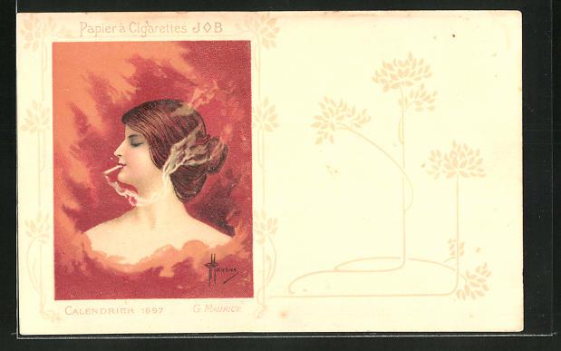 Künstler-AK Reklame für JOB Cigarettenpapier, Calendrier 1897 G. Maurice, rauchende Dame, Jugendstil