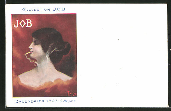 Künstler-AK Reklame für JOB Cigarettenpapier, Calendrier 1897 G. Maurice, rauchende Dame im Profil, Jugendstil
