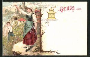 AK Reklame für Franck Kaffee-Zusatz, Kaffeemühle als Markenzeichen, Rheinländerin bei der Weinlese