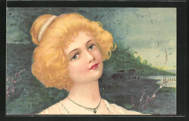 Künstler-AK Portrait einer blonden Dame, Jugendstil