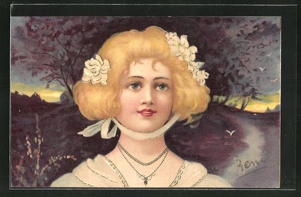 Künstler-AK Portrait einer blonden Dame mit Blumen im Haar, Jugendstil