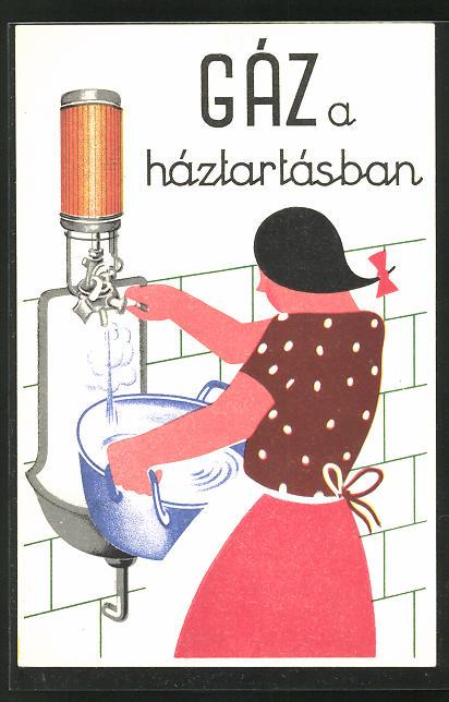 AK Gáz a háztartásban, Reklame für Wasserboiler, Bauhaus