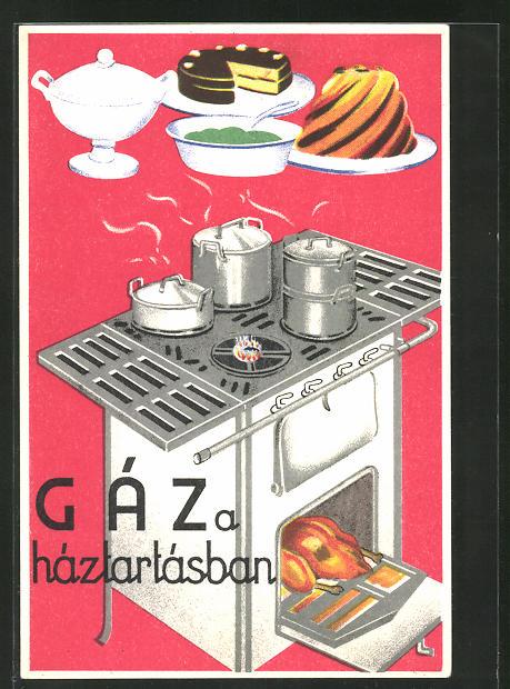 AK Gáz a háztartásban, Herd mit Ofen, Zubereitung von Speisen