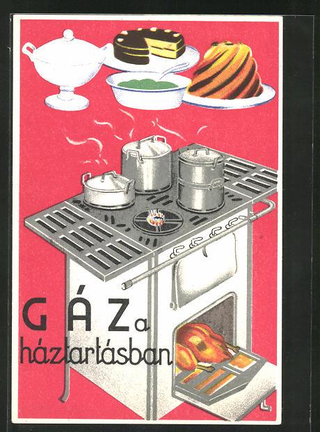 AK Gáz a háztartásban, Zubereitung von Speisen, Herd mit Ofen