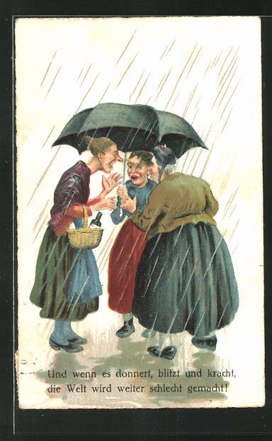 AK frauenfeindlicher Humor, Frauen tratschen auch bei Blitz, Donner und Regen