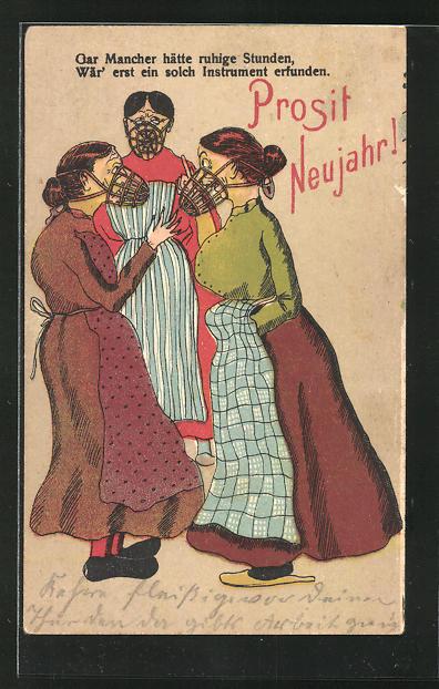 AK frauenfeindlicher Humor, Frauen mit Maulkörben