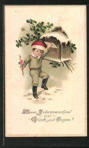 AK Kleiner Junge steckt Brief in Briefkasten, Neujahrsgruss