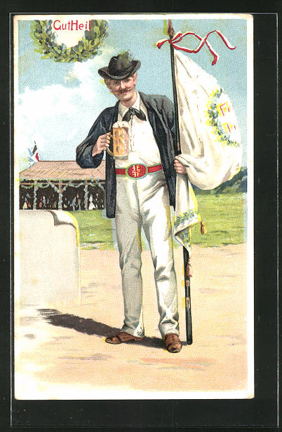 Lithographie Gut Heil, Turner mit Fahne trinkt Bier
