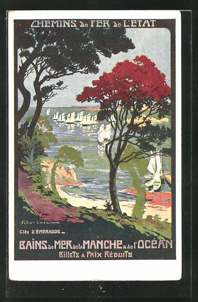 Künstler-AK Chemins de Fer de l'État, Bains de Mer de la Manche & de l'Océan