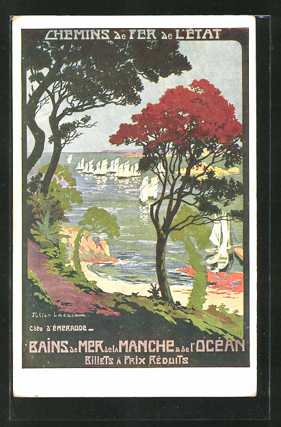 Künstler-AK Bains de Mer de la Manche & de l'Ocean, Cote d'Emeraude, Chemin de Fer de l'Etat