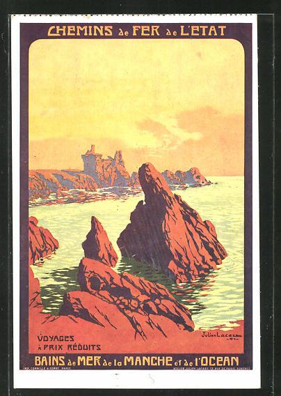 Künstler-AK Bains de Mer de la Manche et de l'Ocean, Chemins de Fer de l'Etat, Tourismus