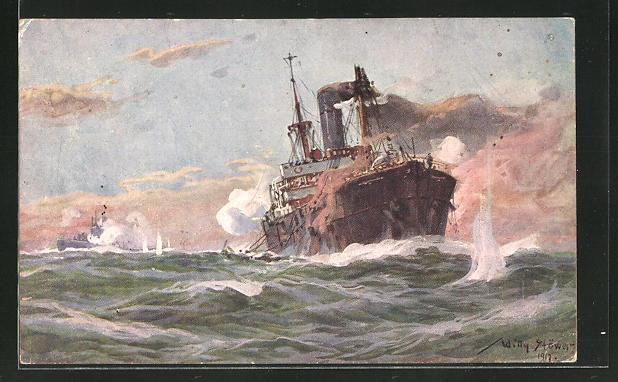 Künstler-AK Willy Stoewer: Deutsches U-Boot im Gefecht mit Handelsdampfer im Sperrgebiet