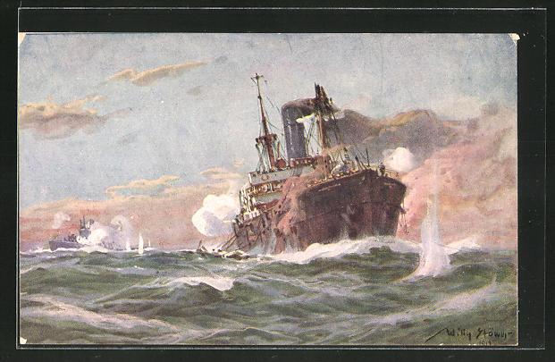 Künstler-AK Willy Stoewer: Deutsches U-Boot im Gefecht mit einem bewaffneten Handelsdampfer im Sperrgebiet