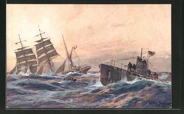 Künstler-AK Willy Stoewer: Französische Bank wird durch deutsches U-Boot im Atlantic versenkt