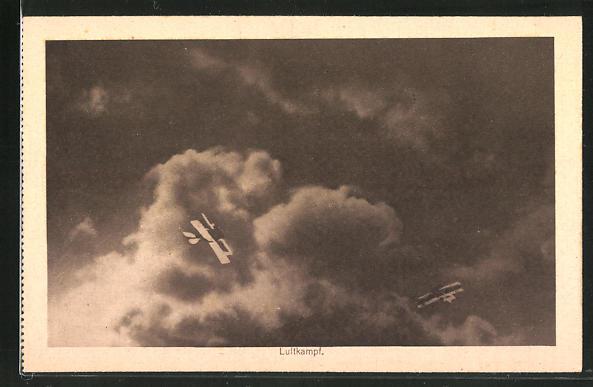 AK Luftkampf, Doppeldecker am Himmel