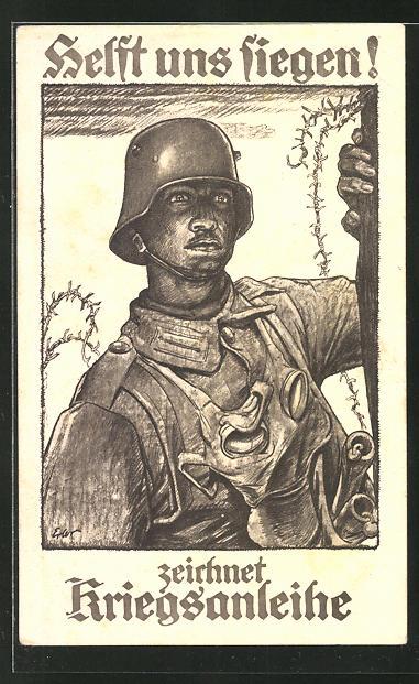Künstler-AK Helft uns siegen! zeichnet Kriegsanleihe, Frontsoldat mit Stahlhelm