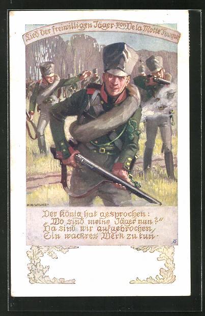 Künstler-AK Karl Alex Wilke: Lied der freiwilligen Jäger von De la Motte-Fouquet