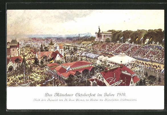 Künstler-AK Zeno Diemer: München, Jubiläums-Oktoberfest 1910, Festplatz
