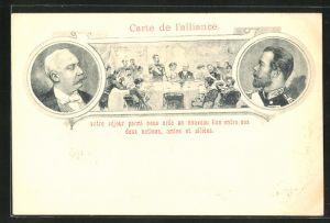 AK Zar Nikolaus II. von Russland, Französischer Staatspräsident Félix Faure