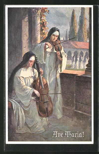 Künstler-AK Adolf (Jodolfi): Ave Maria, Nonnen spielen Chello und Geige
