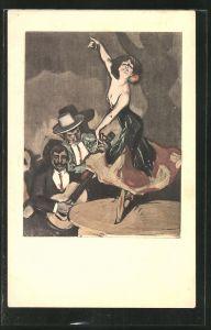 Künstler-AK Simplicissimus: Frau tanzt Flamenco auf einem Tisch