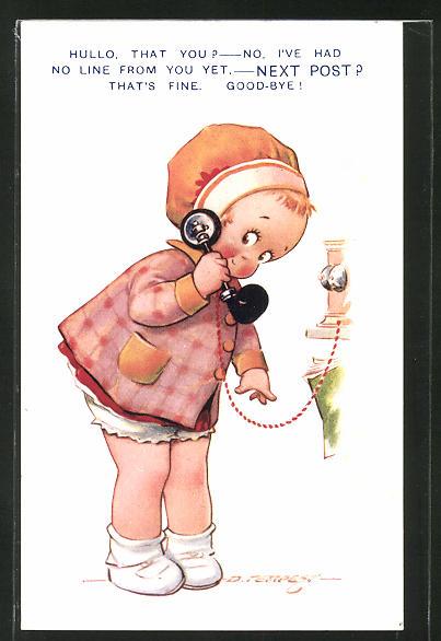 Künstler-AK Douglas Tempest: Mädchen mit Telefon