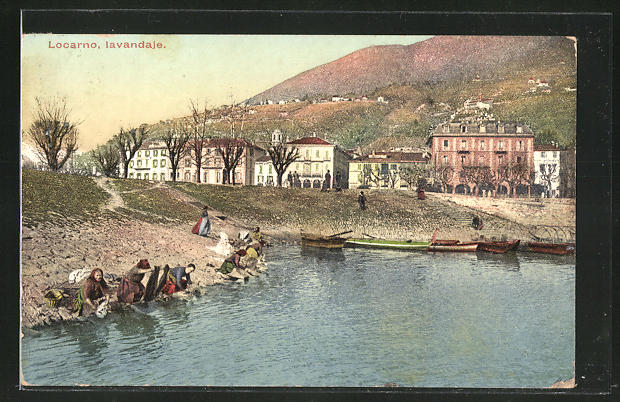 AK Locarno, Iavandaje, Waschfrauen am Teich
