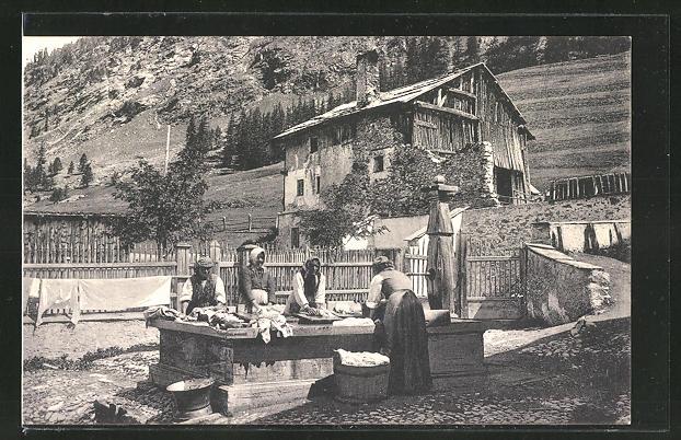 AK Pontresina, Waschfrauen am Brunnen