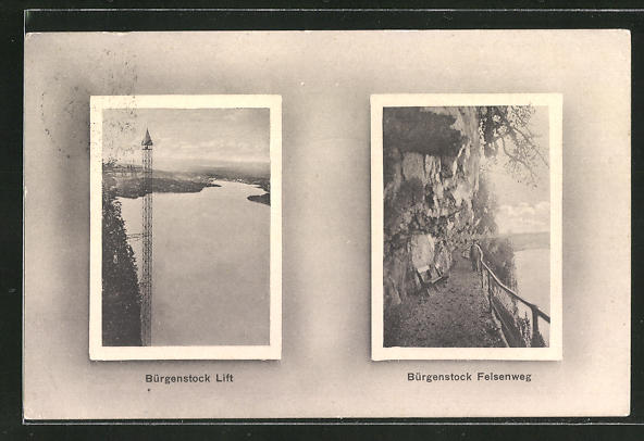 AK Bürgenstock, Aufzug und Felsenweg