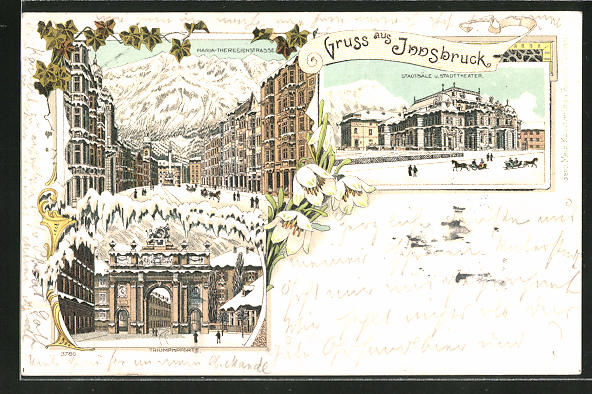 Winter-Lithographie Innsbruck, Triumphpforte, Maria-Theresienstrasse, Stadtsäle und Stadttheater