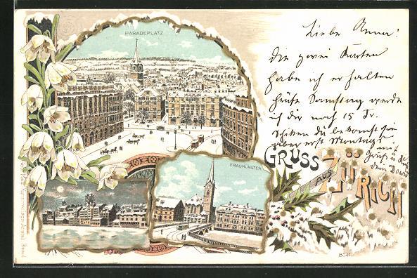 Winter-Lithographie Paradeplatz, Fraumünster, Totalansicht im Mondschein