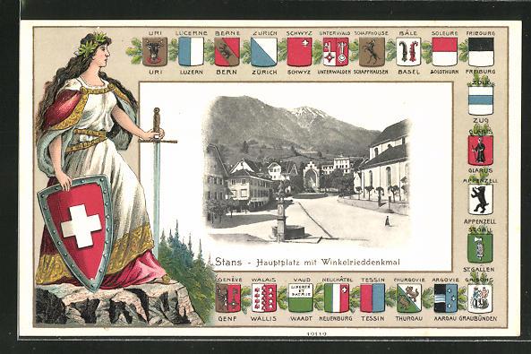 Passepartout-Lithographie Stans, Hauptplatz mit Winkelrieddenkmal, Wappen und Helvetia